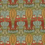 Moda - Voysey by The V&A - 6670 - Floral Reproduction, The Owl on Beige  - 7321 15 - Cotton Fabric